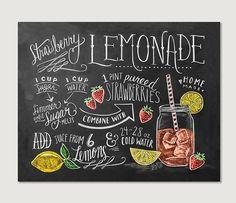 Receta impresión - impresión - limonada de fresa receta - cocina de verano pizarra Art - dibujado a mano tiza arte - ilustración de receta