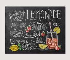 Recipe Print  Summer Kitchen Print  Strawberry by LilyandVal
