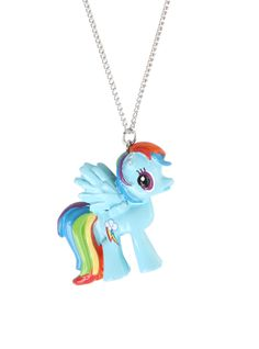 Silver tone chain necklace with 3D Rainbow Dash pendant.