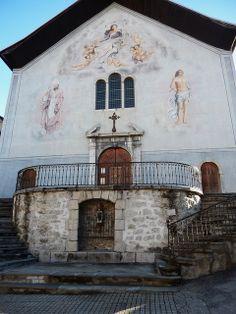 Façade occidentale, église Saint-Grat (XVIIIe), style baroque, Conflans, Albertville, Savoie, Rhône-Alpes,