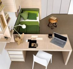Attractive Modern Children's Desk Designs - Image 15 : Green White Beech Splendid Bedroom Study Room