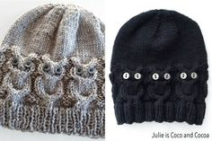 Owl Hat Free Knit Pattern from Julie is Coco and Cocoa