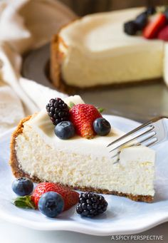 The Best Limoncello Cheesecake with Biscoff Crust | ASpicyPerspective.com