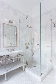 Hexagon Marble Tile Shower with Silver | Marble bathroom designs, Bathroom floor tiles, White marble bathrooms Rustic Bathroom Vanities, Chic Bathrooms, White Bathroom, Modern Bathroom, Small Bathroom, Marble Bathrooms, Master Bathrooms, Family Bathroom, Boho Bathroom