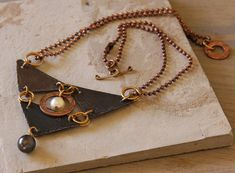 Triangulation necklace hammered Vintaj black by StudioEgallery, $42.00