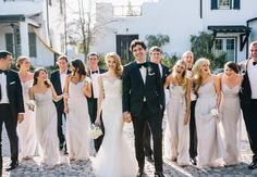These mismatched bridesmaid dresses are perfectly coordinated. Photo: VUE Photography // Featured: The Knot Blog