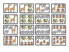 Dieren tellen 1, kaartjes, free printable