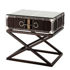Eichholtz This cross leg end table has elegant design mixing materials to create a unique end table. Vintage Industrial Furniture, Rustic Furniture, Luxury Furniture, Cool Furniture, Furniture Stores, Luxury Interior, Antique Furniture, Unique End Tables, End Table Sets