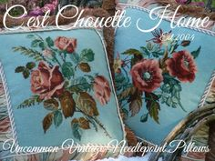 Blue and Dark Peach vintage needlepoints (now vintage needlepoint pillows) www.cestchouettehome.com