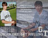 Graduation Announcement - Boy, Blue, Grunge, Senior, High School, Invitation, Open House, Commencement