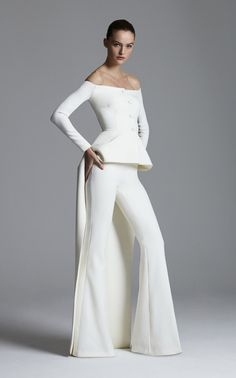 Get inspired and discover Safiyaa trunkshow! Shop the latest Safiyaa collection at Moda Operandi. Bridal Pants, Bridal Jumpsuit, Wedding Pants, Boat Neck Dress, Dress Backs, Safiyaa, Long Sleeve Gown, Vogue, Silk Gown