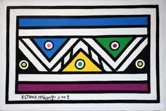 For Sale on - Untitled (Abstract Geometric South African Ndebele Painting), Canvas, Acrylic Paint by Esther Mahlangu. Offered by Malin Gallery. African House, Contemporary African Art, South African Artists, Pattern Art, Pattern Dress, Pattern Design, A Level Art, Mural Painting, Art Fair