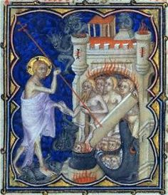 The Harrowing of Hell, depicted in the Petites Heures de Jean de Berry, 14th c. illuminated manuscript commissioned by John, Duke of Berry.