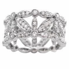 Natalie K Diamond Antique Style 18k White Gold Wedding Band Ring