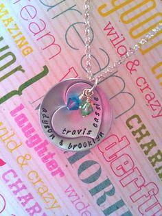 NEWBirthstonesHand Stamped Family Necklace by DarkChocolateNTulips, $42.00