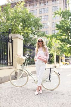 6.15 pedal (J Crew striped boatneck shirt in ivory warm petunia + Topshop overalls + Nicholas Kirkwood 'pink patent' flats + Chanel bag + Karen Walker sunnies + Tory Burch tote)