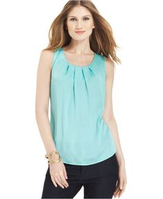 Elementz Top, Sleeveless Pleated Tank - Womens Tops - Macy's