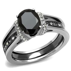 8x6mm Black Oval Cut CZ Two-Tone IP Light Black Stainless Steel Ring Set
