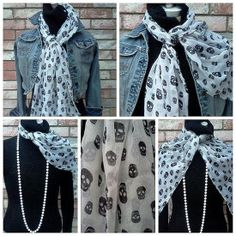 Checkout this amazing product Black/White Skull Printed Scarf at Shopintoit