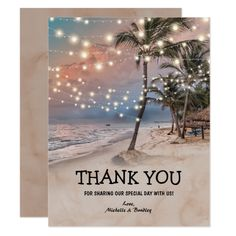 Beach Wedding Photos Tropical Vintage Beach Lights Wedding Card - Vintage beach destination wedding invitations featuring a romantic sunset tropical beach setting with lush palm trees and string twinkle lights. Tree Wedding Invitations, Destination Wedding Invitations, Vintage Wedding Invitations, Wedding Rsvp, Bridal Shower Invitations, Wedding Ideas, Destination Weddings, Wedding Venues, Wedding Stationery