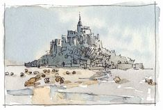 """""""Mont Saint Michel XI"""" Original pencil and watercolor painting on cold pressed paper. Limited colour palette: old holland grey + raw siena."""