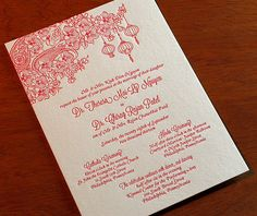 Mai's enchanting and light-hearted floral theme is beautiful in letterpress. It blends multicultural motifs of Vietnamese lanterns, Indian-inspired paisley, and blooming orchids.