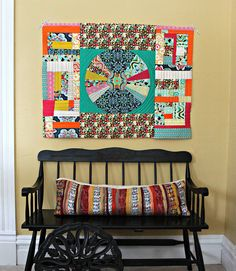 """Loving this quilt by @Maureen Cracknell on Maureen Cracknell Handmade """"My quilting is very free, improv, and fun! I think the orange Aurifil thread and random, straight-line quilting goes really well the style I have in mind for this quilt.""""    To see more visit  http://maureencracknellhandmade.blogspot.com/2013/03/more-carnaby-qayg.html"""