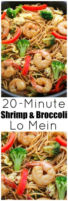 20-Minute Shrimp and Broccoli Lo Mein - so much better than take-out!!! #chinesefoodrecipes