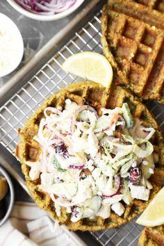 falafel waffles with Mediterranean slaw