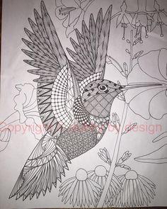 Hummingbird template with background. #dubbybydesign #zentangle #zentangleinspiredart #benkwok #ornationcreation #hummingbird #inkdrawing #zendoodle #doodle