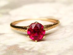 Antique Ruby Engagement Ring 14K Yellow by LadyRoseVintageJewel