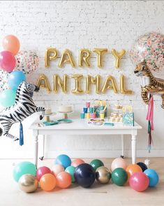 Party Animal - First Birthday Party Balloons Balloon decorations for first birthday party. This wild party animal theme is perfect for your child's firs Animal Themed Birthday Party, First Birthday Party Themes, Wild One Birthday Party, Birthday Themes For Boys, 1st Boy Birthday, Birthday Party Decorations, Party Animal Theme, Colorful Birthday Party, Balloon Decorations Party