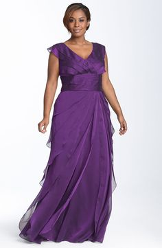 adrianna papell iridescent chiffon petal gown (plus size