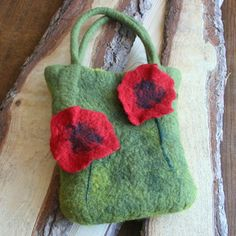 $45, Felted bag 'Poppy flowers',wet merino felted bag,purse,delicate wool