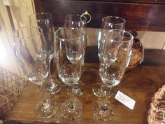 Set of six unfussy white glass flutes.  Perfect order. Let the bubblesg speak!        B.G.  6356               £24