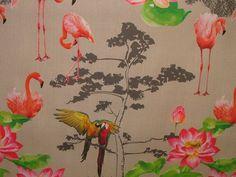 1 Metre Paradise Flamingo Parrot Bird Linen Look Photo Digital Printed Full Colour Designer Cotton Curtain Upholstery Fabric Fabric Design, Print Design, Flamingo Photo, Cotton Curtains, Curtain Fabric, Parrot Bird, Orange Fabric, Happy House, Fabric Birds