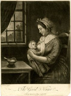 The Good Nurse, c1765-1771. Note the swaddling. This is the type you avoid today, can lead to hip dysplasia.