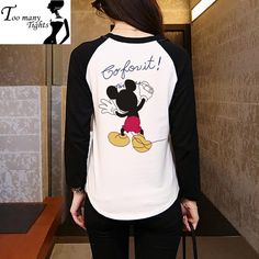 Mickey Cartoon On The Clothing Back Printed Patchwork Pullovers Women Casual Comfortable Hoodies Mickey Cartoons, Mickey Mouse Cartoon, Cartoon T Shirts, Hoodies, Sweatshirts, Casual, Tights, Pullover, Prints