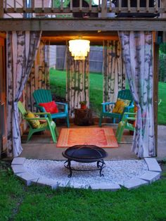 Bring In a Feminine Touch    With steel furniture, concrete, brick and stone, it's no wonder most outdoor spaces tend to lean toward a masculine look. Add a touch of whimsy and a more feminine vibe with a capiz chandelier, like the one featured on this bright and colorful patio (find the DIY project here).