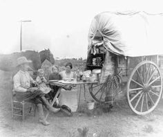 Family Dinner on the Trail Ed Hennessy and his family stopped for the evening as they traveled to Holbrook from the east. Even though they were on the road, they would have a hot dinner before turning in. Hennessy joined up with the Hashknife Outfit that ran thousands of head of cattle along the railroad line across northern Arizona in the late 1880's. When the cattle business closed up, Hennessy was among many of the cowboys who stayed on in Holbrook.