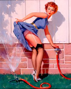 Gil Elvgren reproduction print size A4 measuring 210 by 297 millimetres (8.27 in × 11.7 in)