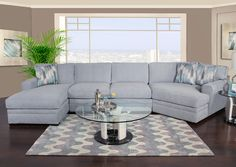 100% Polyester br / Cleaning Code: WSbr / br / br / The contemporary Poseidon II dome arm sectional includes reversible boxed welt seats and loose boxed back cushions. Poseidon II has plenty of seating for the entire family with several additional stocked options. As shown, 3-piece chaise sectional with cuddler includes three throw pillows in correlate fabric and wedge shape wood legs. Special order fabric options, additional arm styles, and additional configurat...