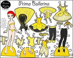 A yellow ballerina paper doll colored by Melinda.