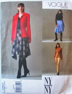 Vogue 2827 NYNY Collection Women's 2000s Jacket, Skirt and Pants Sewing Pattern Bust 30 to 32