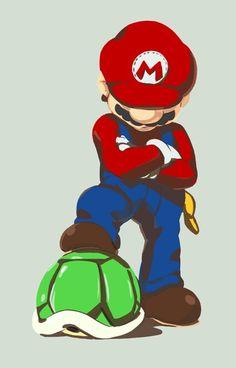 Super Mario and His Super Shiny Turtle Shell Artwork by LD Walker Mario Nintendo, Mario Bros., Super Nintendo, Mario Fan Art, Mario Party, Super Mario Brothers, Super Mario Bros, Super Mario World, Video Game Art