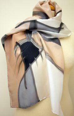 Handpainted Silk Scarf.Woman Silk Scarf.Hand Painted Silk Shawl.Grey silk scarf.Wedding Gift.55x18.Giveaways.Ideas for her.Silk shawl de gilbea en Etsy