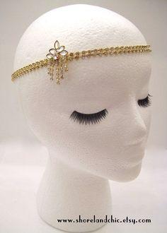 The Sybil - gold crystal Gatsby hairpiece, art deco chain headpiece, crystal hair wrap, 1920s crystal wedding hair, Gatsby Halloween party by ShorelandChic on Etsy