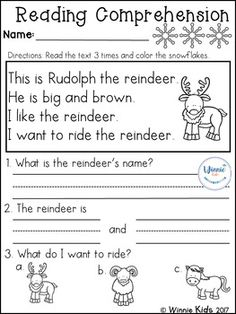 Great for beginning readers. Reading Comprehension Worksheets, Reading Fluency, Reading Passages, Kindergarten Reading, Kindergarten Worksheets, Kindergarten Teachers, Reading Help, Kids Reading, Reading Skills
