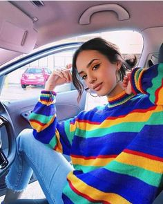 rainbow | model | outfits | vintage | aesthetic | car