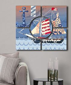 This Blue & Red Nautical Wall Art Set by Amazing Wallart is perfect! #zulilyfinds